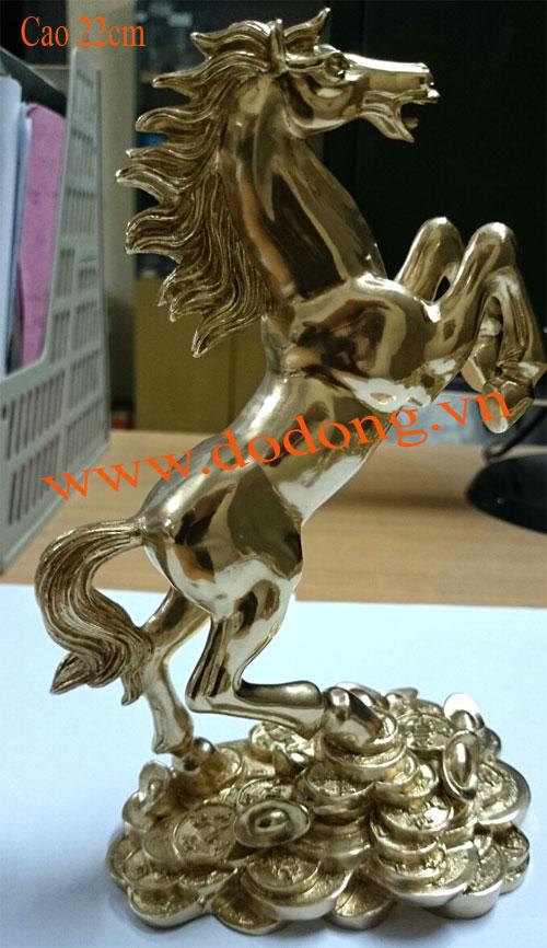 Ngựa đồng đứng tiền xu 22cm đúc nguyên khối