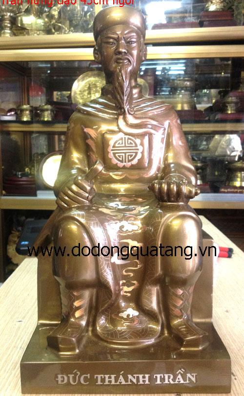 Tượng đồng đức thánh trần khảm tam khí cao 45cm - dáng ngồi