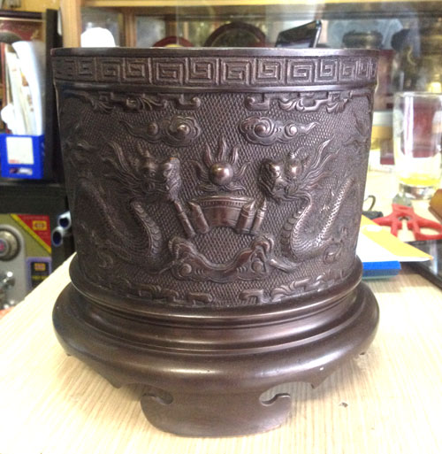 Bát hương đồng hun màu đk 20cm