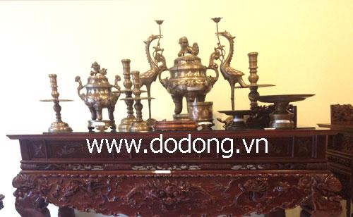 Bộ đỉnh đồng ngũ sự 60cm phù hợp bàn thờ 81x197cm đồ đồng tam khí