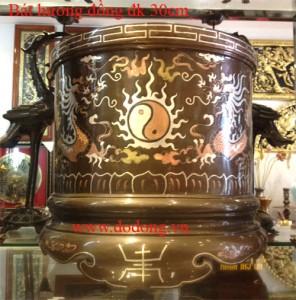 Bát hương đồng tam khí 30cm cúng tiến đền thờ – đồng tam khí
