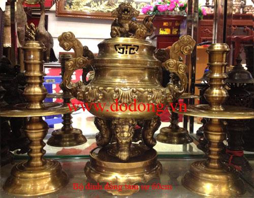 Bộ đồ thờ tam sự hoa sòi đúc truyền thống cao 60cm,đường kính 28cm