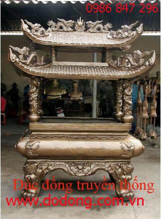 Đúc lư hương đồng có mái dùng để thắp nhang,hóa tiền vàng lúc trời mưa