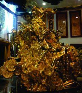 Tượng tam dương tài lộc 2015 mạ vàng