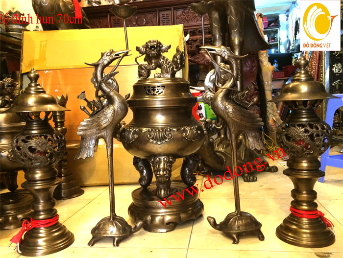 Bộ đỉnh thờ ngũ sự hun 70,đèn thờ đồng đại bái