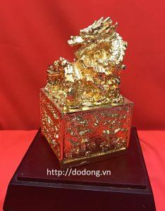 ấn rồng cửu long đồng mạ vàng,vật phẩm phong thủy quý