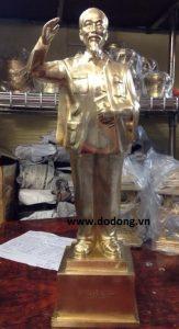 Tượng đồng Bác hồ đứng vẫy tay 45cm đồng vàng