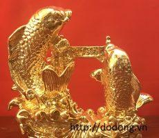 Tượng đồng cá chép vũ môn mạ vàng 16cm,26cm