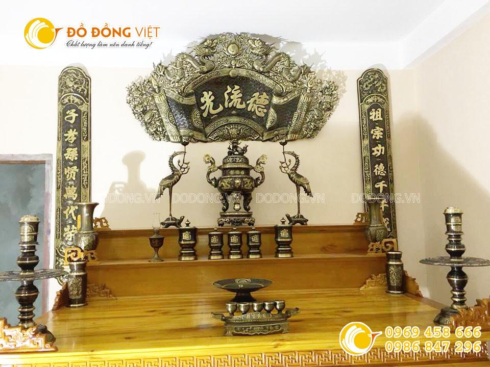 Cuốn thư câu đối Đức Lưu Quang bằng đồng hun giả cổ KT 1m550