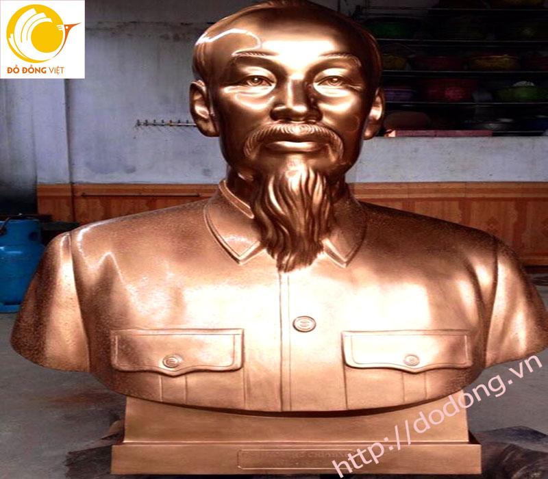Tượng bán thân Hồ chủ tịch cao 90cm đồng đỏ nguyên khối0
