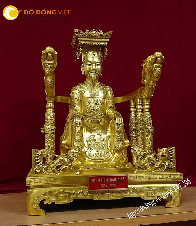 Tượng đồng Đinh tiên hoàng đế ngồi ngai vàng 81cm0