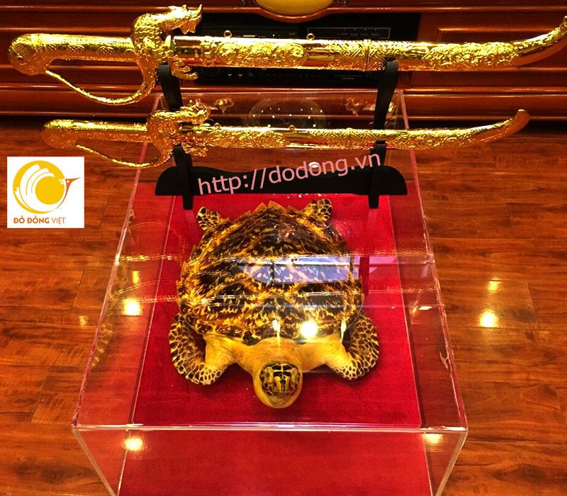 Vật phẩm kiếm đồng mạ vàng trang trí phong thủy 60cm0