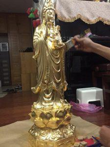 Đúc tượng Quán Thế Âm Bồ Tát bằng đồng thếp vàng 24k