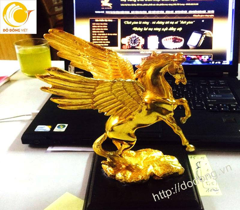 Ngựa có cánh mạ vàng,tượng ngựa để bàn làm việc 25cm0