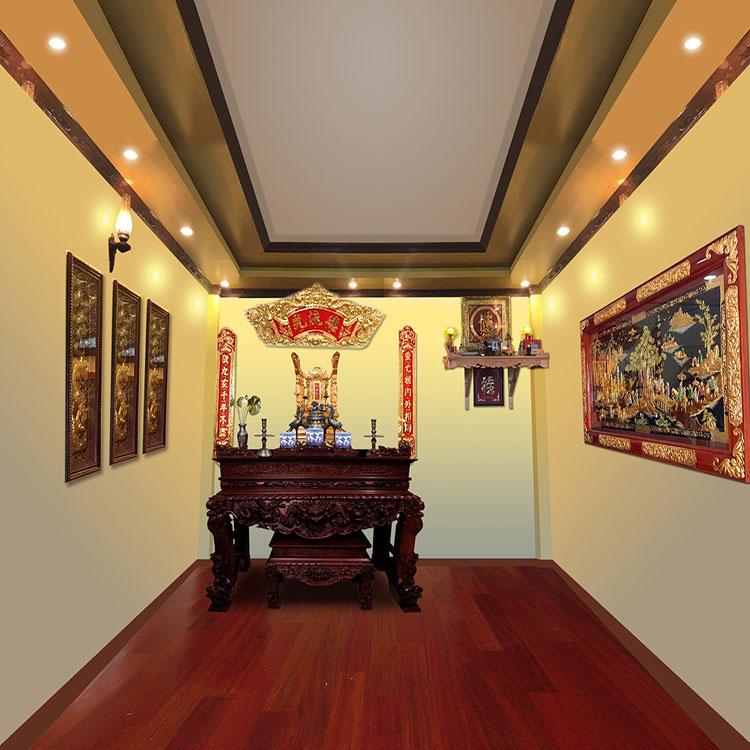 Tranh vinh quy bái tổ treo phòng thờ gia đình 120x230cm