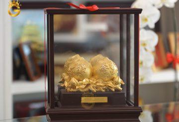 Quà tặng mừng thọ mẹ- biểu trưng quả đào mạ vàng 24k