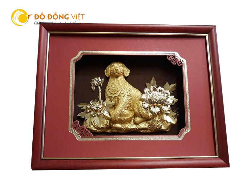 Quà tặng khách nước ngoài, tranh linh vật tuổi tuất dát vàng 99990