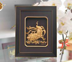 Tranh Chim Công Dát Vàng- quà tặng cao cấp đẹp tinh xảo