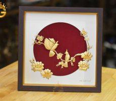Tranh đôi chim hoa mẫu đơn bằng vàng lá 24k
