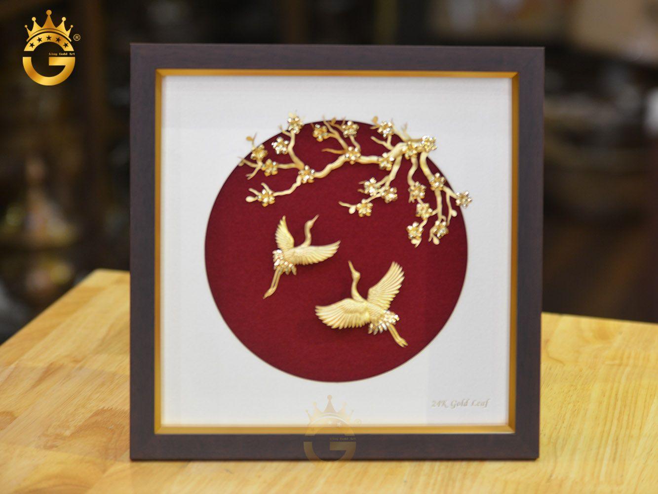 Tranh đôi chim dát vàng và hoa đào0
