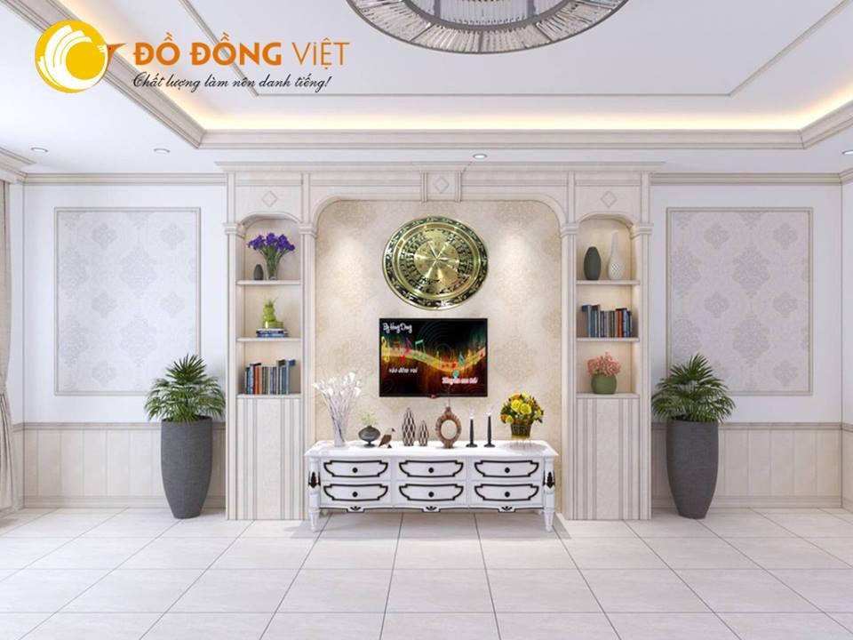 Đồng hồ trống đồng hình bản đồ Việt Nam làm quà tặng trang trí nội thất0