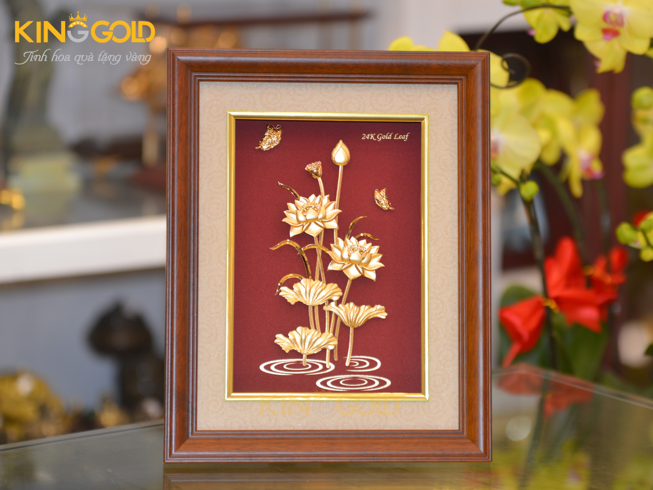 Quà tặng hoa sen mạ vàng- quà tặng sếp nữ dịp Tết 20200