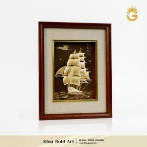 Quà Tặng Khai Trương Hồng Phát- Tranh Thuyền Buồm Bằng Vàng24k