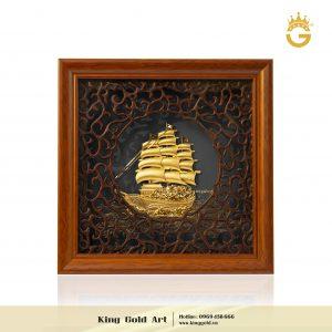 Tranh vàng thuyền buồm khung vuông 20x20cm