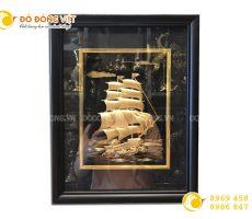 Tranh dát vàng thuyền buồm khung 27×34 cm đẹp