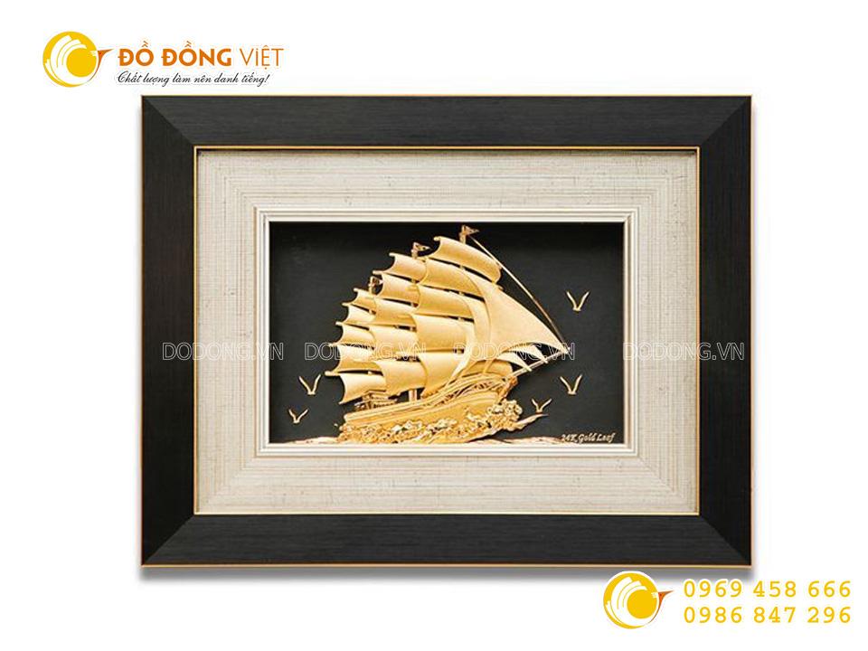 Qùa tặng tranh thuyền buồm 20x30cm dát vàng 24 k0