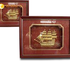 Tranh đồng quà tặng, tranh thuận buồm xuôi gió mạ vàng 24K