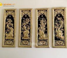 Tranh tứ quý bằng đồng vàng liền mê cả khung KT 40×115 cm