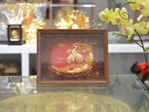 Quà tặng tranh vàng 24k- tranh tùng hạc diên niên mạ vàng