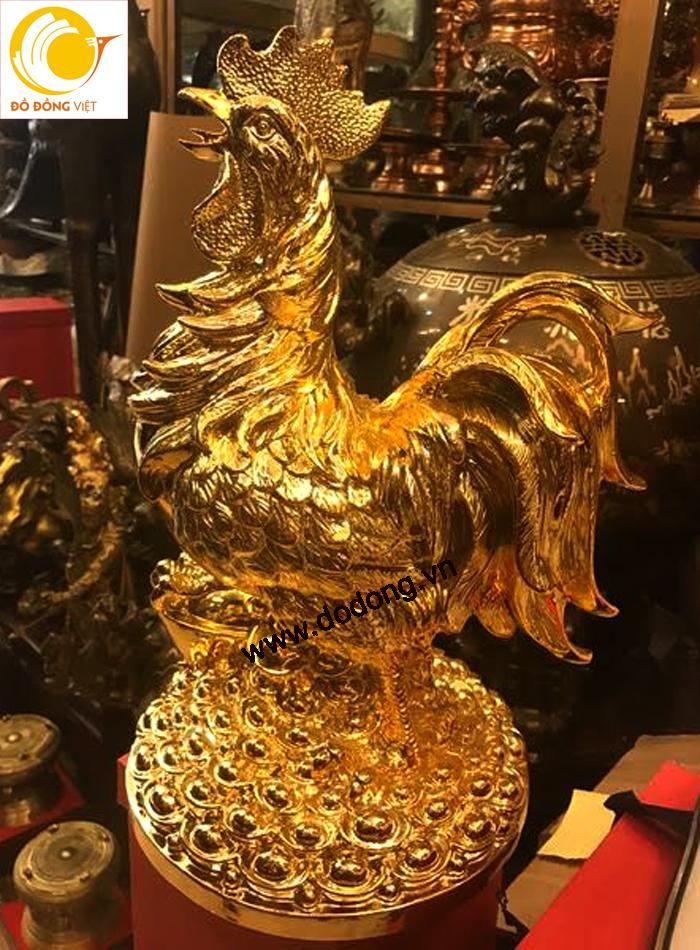 Tượng gà đồng phong thủy thịnh vượng mạ vàng 42cm0
