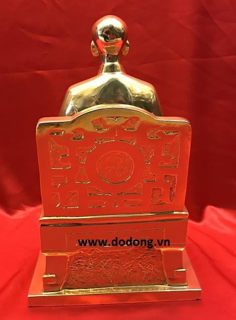 Tượng đồng Bác hồ 28cm mẫu k9 mạ vàng đẹp2