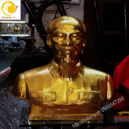 Tượng Bác hồ bán thân 70cm dát vàng 24k sang trọng để thờ cúng hoặc bày hội trường