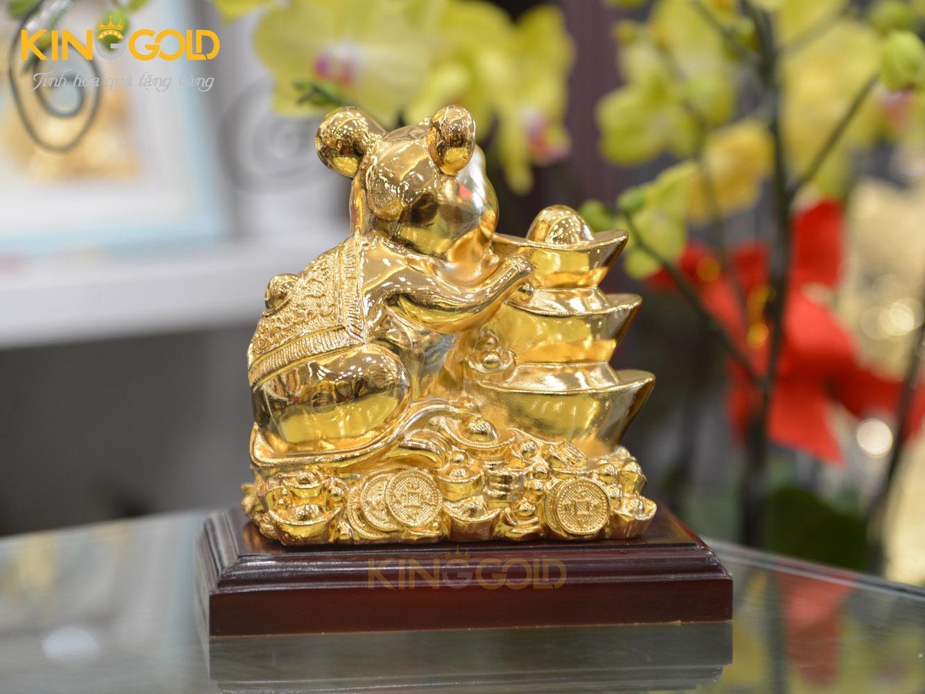 Quà tặng phong thủy- Tượng chuột tài lộc bên Kim Nguyên Bảo dát vàng0