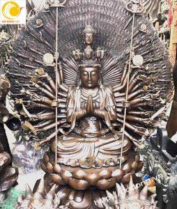 Bức tượng phật thiên thủ thiên nhãn đồng hun 48cm