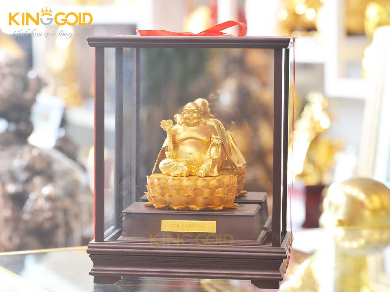 Đúc tượng Phật Di Lặc ngồi đài sen mạ vàng 99990