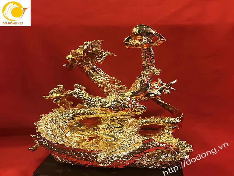 tượng rồng phong thủy mạ vàng 25cm để bàn