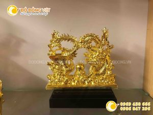 Tượng rồng phượng bằng đồng mạ vàng, tượng rồng vàng cuộn phượng