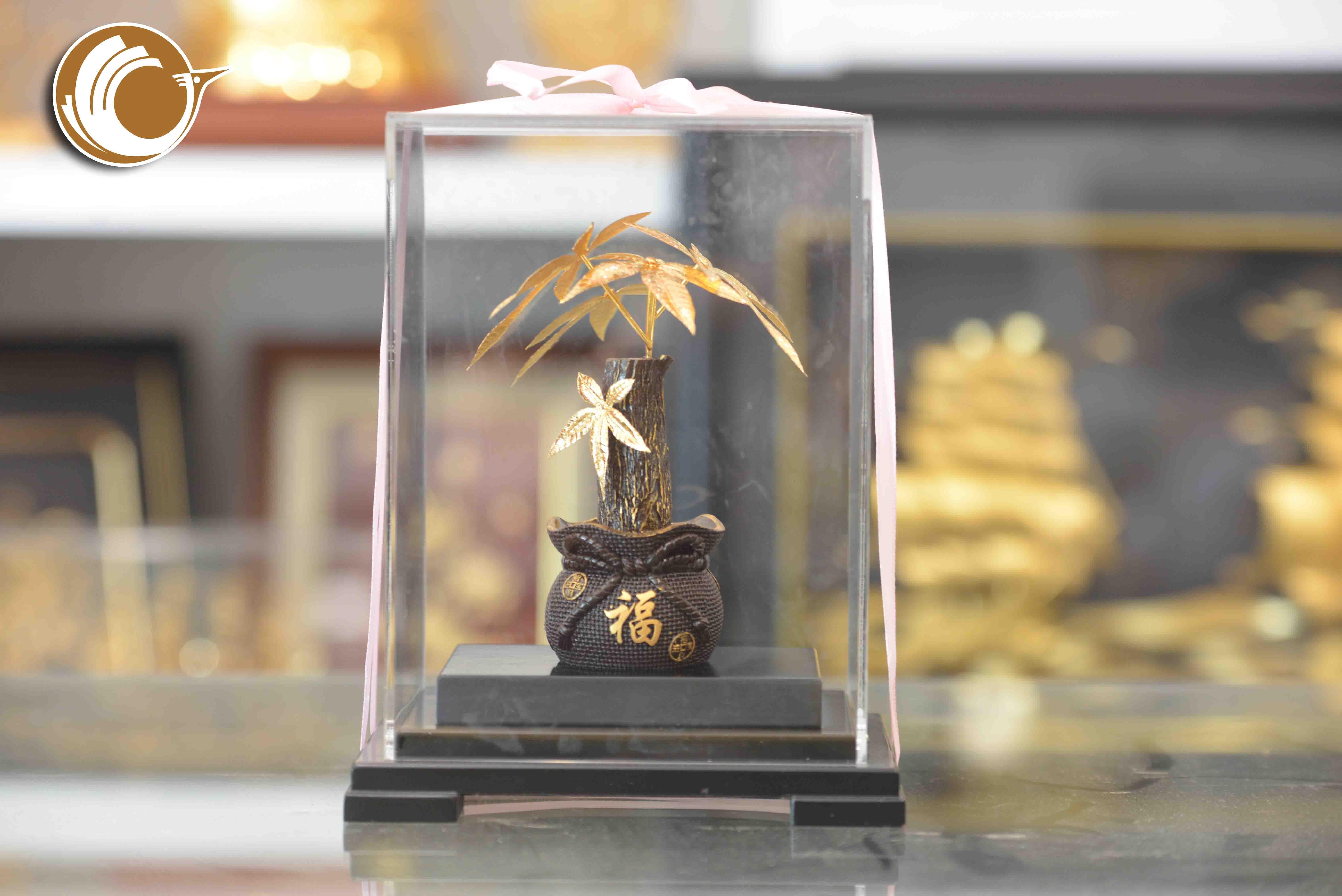 Cây kim ngân bằng vàng lá 24k, giá bán cây kim ngân vàng0